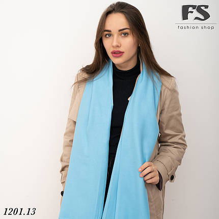 Голубой  стильный шарф из пашмины, фото 2