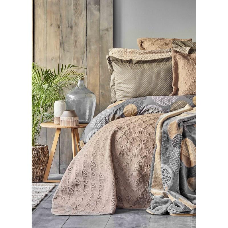 Набор постельное белье с покрывалом + плед Karaca Home - Zoya kahve 2020-1 кофе евро