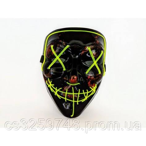 Неоновая маска Purge Mask Судная ночь Желтая, фото 2
