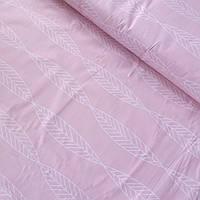 Бязь з білими листочками на рожевому тлі, ширина 220 см, фото 1