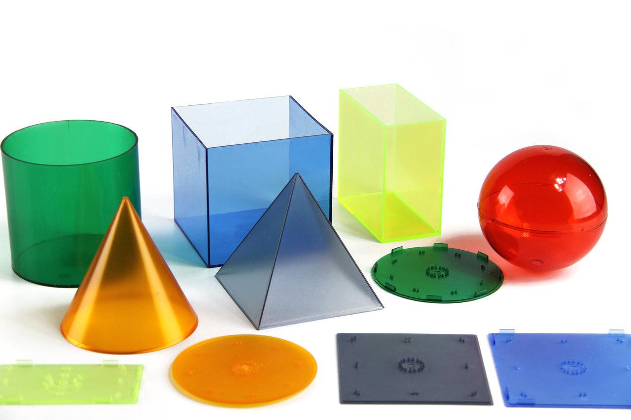 Геометричні тіла з кришками, пластик