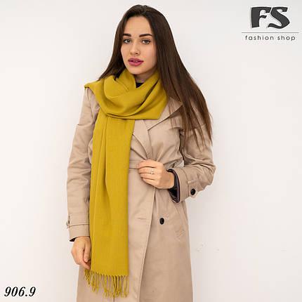 Женский горчичный шарф из пашмины, фото 2