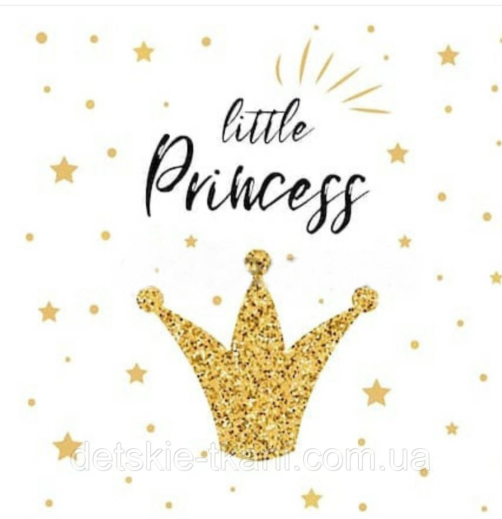 "Панелька из сатина размером 33*33 см ""Little Princess"" и корона"