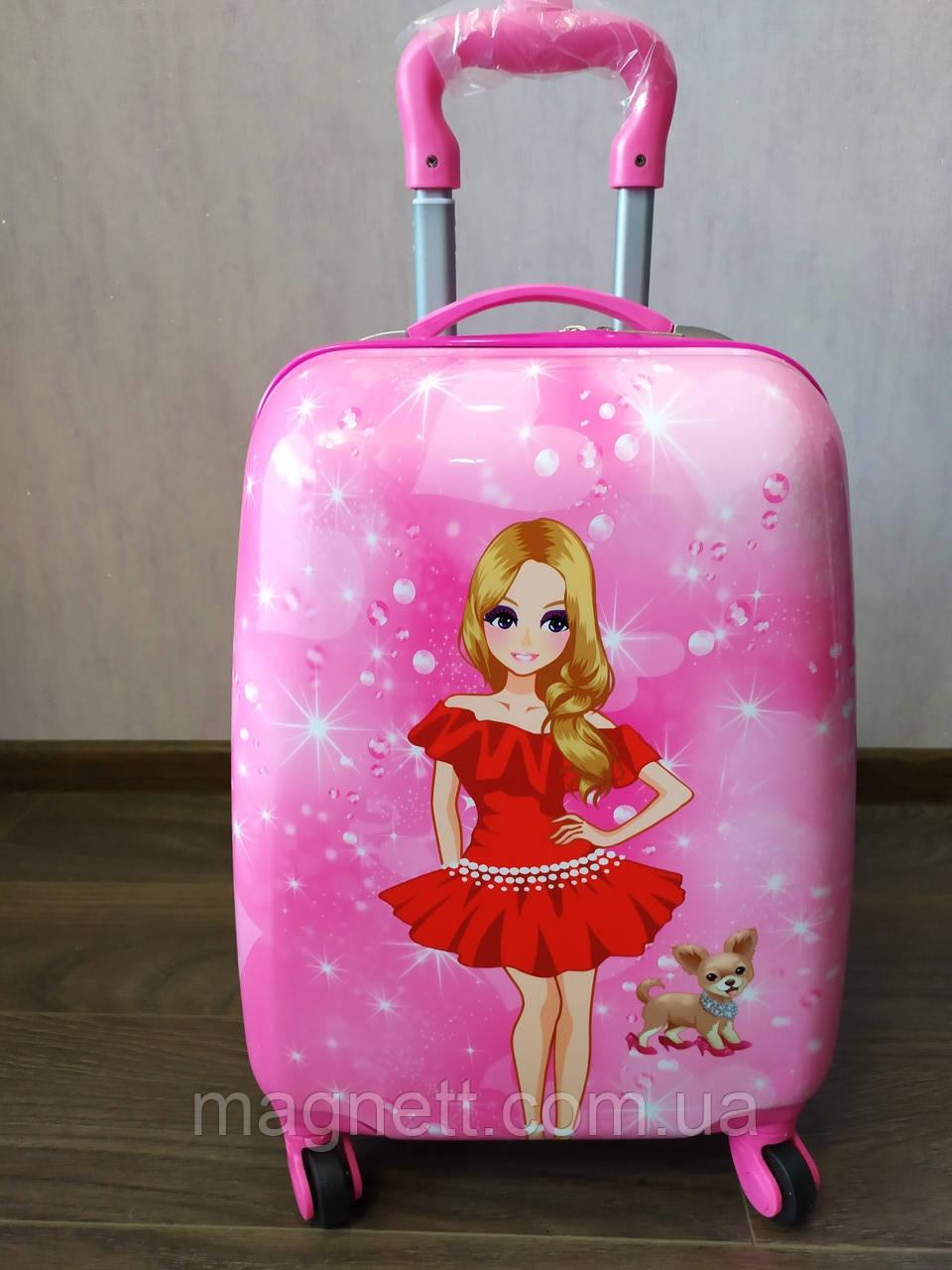 """Детский чемодан на 4 колесах для девочки """"Барби с собачкой"""" 45*31*21"""
