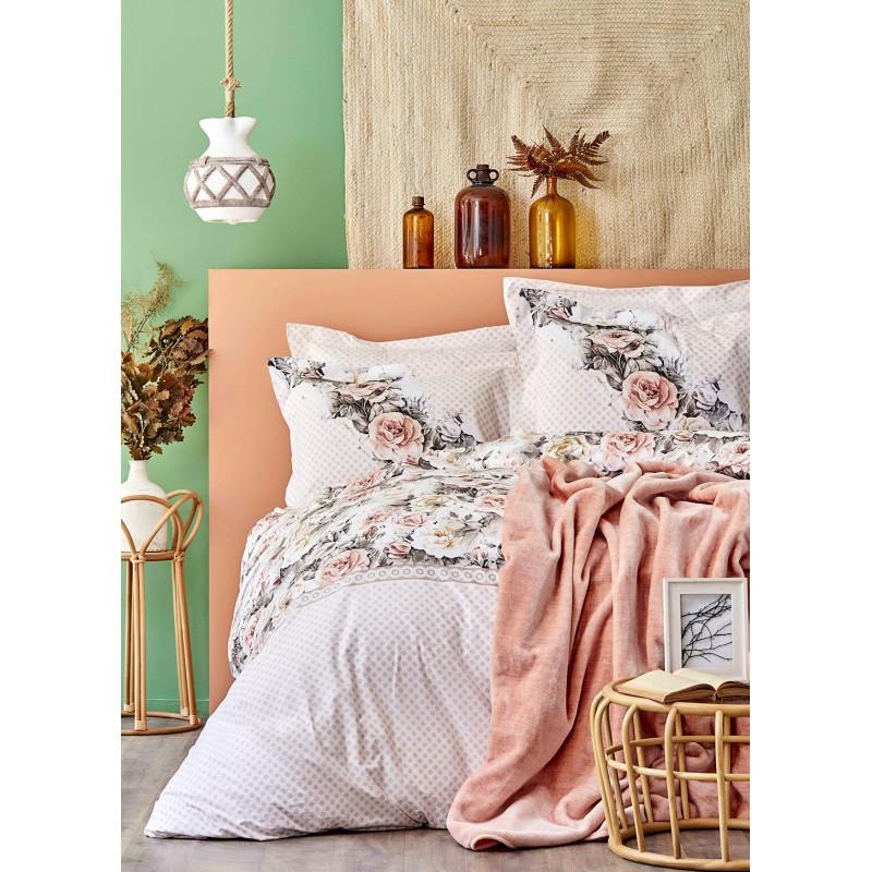 Набор постельное белье с покрывалом Karaca Home - Elsa somon 2020-1 лососевый евро