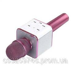 Беспроводной караоке микрофон UTM с динамиками в чехле Bluetooth USB Q7 Pink, фото 3