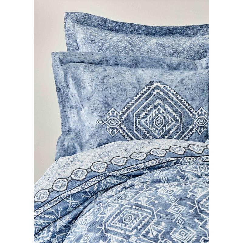 Набор постельное белье с покрывалом Karaca Home - Lanika mavi 2020-1 голубой евро