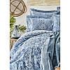 Набор постельное белье с покрывалом Karaca Home - Lanika mavi 2020-1 голубой евро, фото 4
