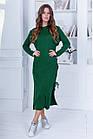 Женское вязанное зимнее платьешерсть пудра серое зеленое темно-синее 42-48, фото 2