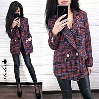 Женский твидовый пиджак оверсайз удлиненный 8KA242