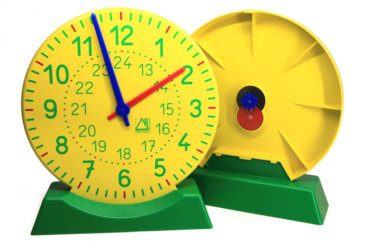 Демонстраційна модель механічного годинника для вчителя з підставкою, ø 27 см
