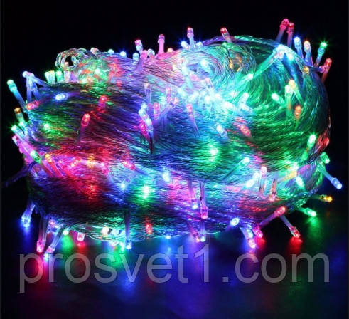 Гирлянда 500 LED 23м с прозрачным проводом (мультиколор)