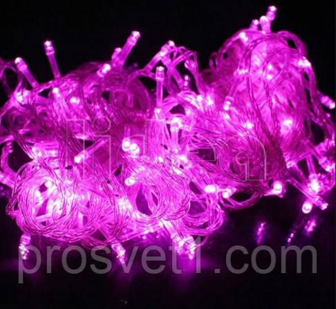 Гирлянда 400 LED 22м с прозрачным проводом (розовый)