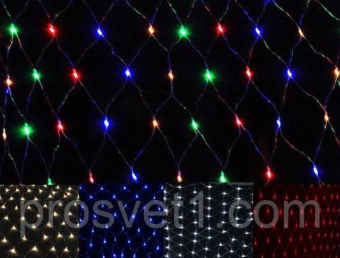 Гирлянда 240 LED 2м*2м сеть с прозрачным проводом (мультиколор)