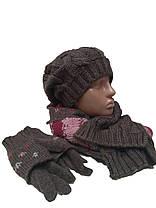 Комплект FONEM 3033  (шапка, шарф и перчатки) коричневый, фото 3