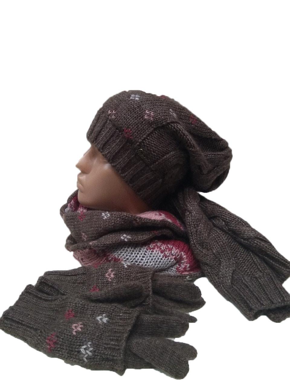 Комплект FONEM 3033  (шапка, шарф и перчатки) коричневый