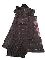 Комплект FONEM 3033  (шапка, шарф и перчатки) коричневый, фото 2