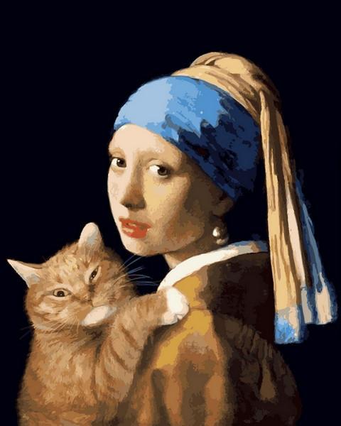 Картины по номерам 40×50 см. Девушка с жемчужной сережкой и рыжим котом