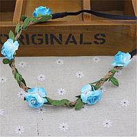 Венок для волос женский Голубые розы