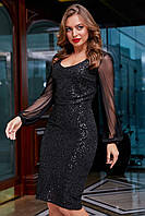 Нарядное платье с пайетками с рукавами сетка 44-50 размера черное, фото 1