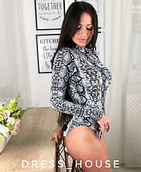 Модный женский боди, принт питон