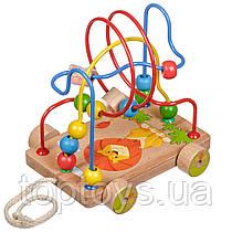 Іграшки з дерева Світ дерев'яних іграшок Лабіринт каталка  Левеня (Д011)