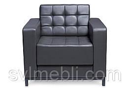 Кресло Лаунж на металлическом основании, экокожа темно-серый