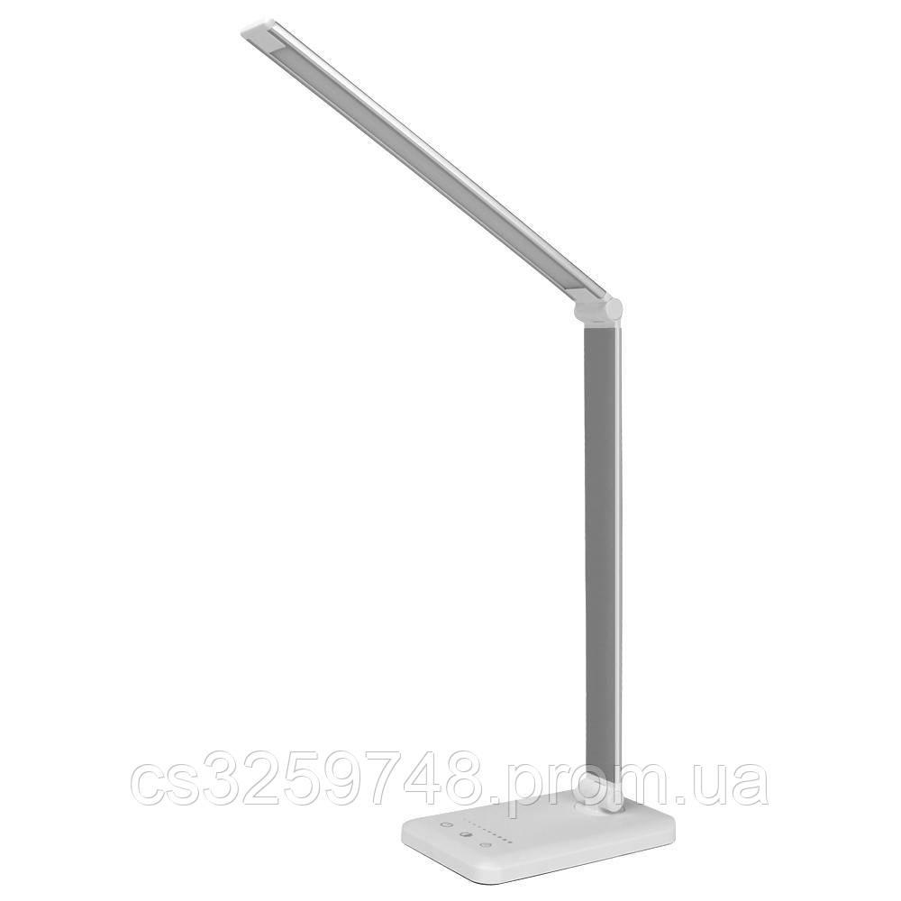 Настільна лампа LED світильник з бездротовою зарядкою QI 2 в 1 USB Silver (Оригінал 2019)