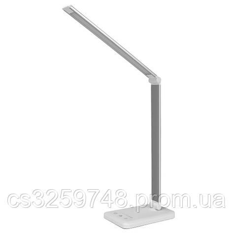 Настільна лампа LED світильник з бездротовою зарядкою QI 2 в 1 USB Silver (Оригінал 2019), фото 2