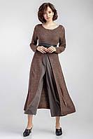 Модное теплое платье туника женское «Прейри» (Серое, коричневое | 42-44, 44-46, 46-48)