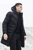 """Мужская зимняя куртка-парка """"Зирка"""" дутая с капюшоном черного цвета"""