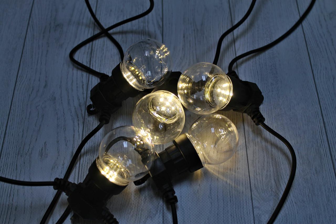 Уличная светодиодная гирлянда Прозрачные Шарики 10шт 10м 220V Желтый WATERPROOF BALL-10WW-4