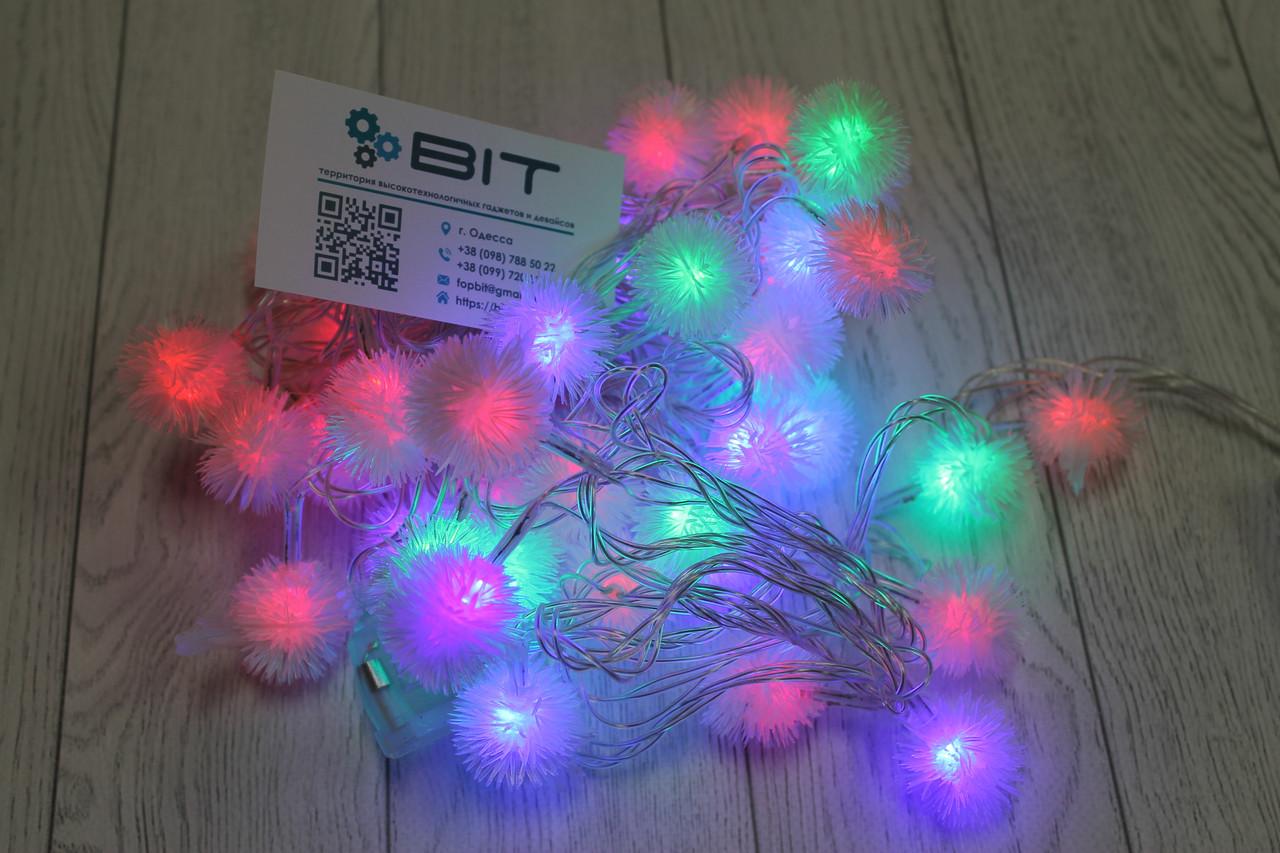 Светодиодная новогодняя гирлянда на елку Снежки 40шт 6м 220V Микс 40PLASTIC-M-1