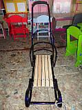 Санки металлические геркулес bebi высокая спинка с ручкой, толкателем киев, фото 2