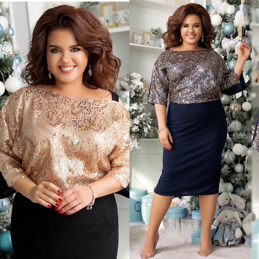 Платье женское, вечернее, нарядное, большого размера, с пайетками, стильное, яркое, от 48 до до 62 р, фото 1
