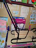 Санки металлические геркулес bebi высокая спинка с ручкой, толкателем киев, фото 4