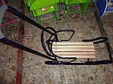 Санки металлические геркулес bebi высокая спинка с ручкой, толкателем киев, фото 3