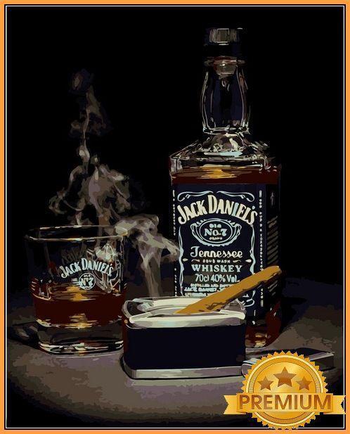 Картины по номерам 40×50 см. Babylon Premium Виски Джек Дэниэлс и сигара