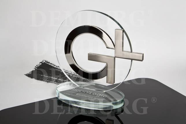 Награда из стекла с металлическими элементами., фото 2