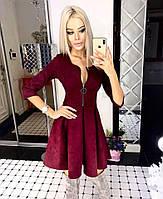 Роскошное платье из плотного замша в стиле бэби-долл