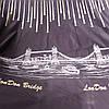 Бязь с кометами и мостом LonDon Bridge на тёмно-сиреневом, ширина 220 см