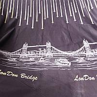 Бязь с кометами и мостом LonDon Bridge на тёмно-сиреневом, ширина 220 см, фото 1