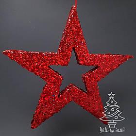 Звезда из пенопласта с присыпкой 34 см Красная