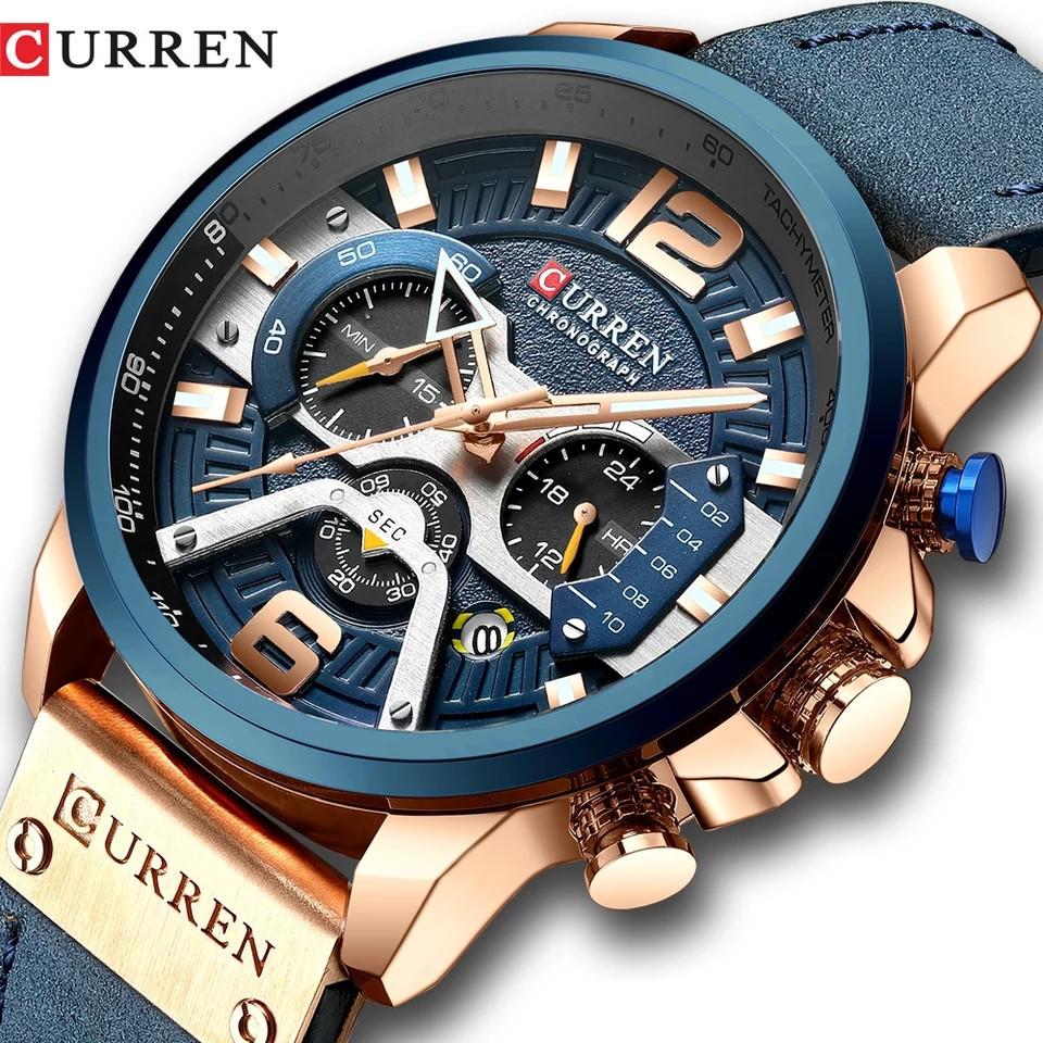Чоловічі стильні водонепроникні годинники CURREN 8329 Rose Gold Blue
