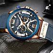 Чоловічі стильні водонепроникні годинники CURREN 8329 Rose Gold Blue, фото 4