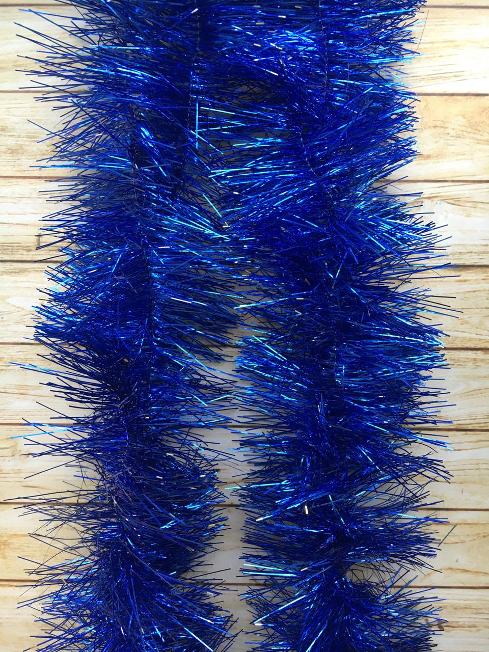 10 см диаметр Мишура дождик Синий, Длина 3 метра