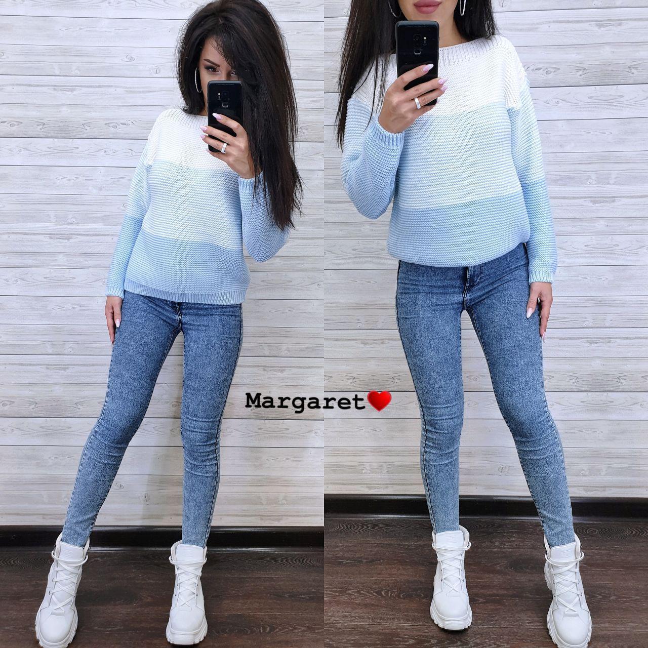 Женский теплый трехцветный свитер под горло 9sv747