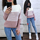 Женский теплый трехцветный свитер под горло 9sv747, фото 3