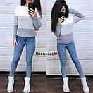 Женский теплый трехцветный свитер под горло 9sv747, фото 4