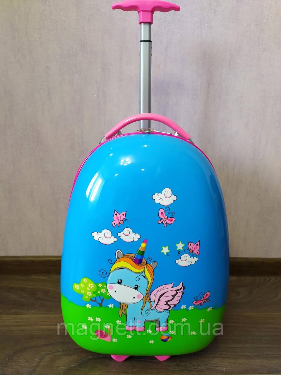 Дитяча валіза на 2 колесах 43*30*20см Єдиноріг